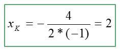 הצבת נתונים לחישוב קודקוד פרבולה