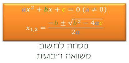 פתרון משוואה ריבועית